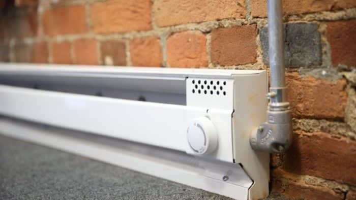 "How to Remove Baseboard Heating. Turn the power off to your baseboard heaters by flipping the corresponding switch to the ""OFF"" position in your home's circuit breaker box. Unscrew the retaining screws in the baseboard heater, using a screwdriver or power drill with screwdriver bits. Lift away the heater from the wall."