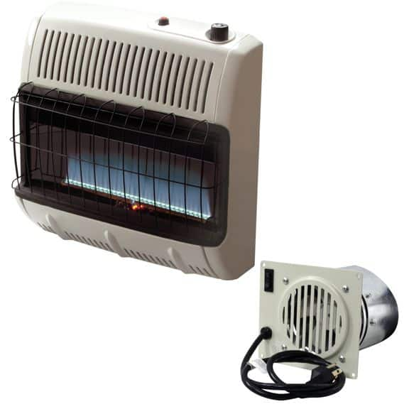 Mr. Heater F299730 MHVFB30LPT Vent Free Blue Flame Propane Heater. Unlike most indoor propane heaters, the Blue Flame heater warms the air using convection, not infrared. It can be put in a narrow area because the heat rises and warms the area from the ceiling down.