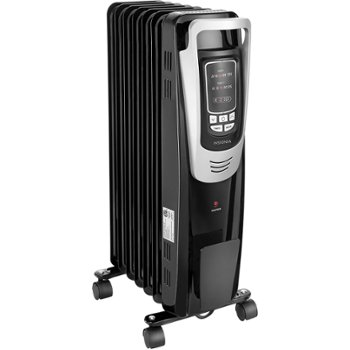 he Insignia NS-HTRFBK6 oil-filled radiator heater weighs only 17 pounds and can warm areas up to 144 square feet in size.