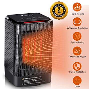 The heater is able to act as a cool fan as well as a heater. Natural winds mode (Power 30W), two heat settings (450W for low heating level, 950W for high heating level). Heater equips with light-touch button and front indicator lights (red / bright red / blue), cool and warm for your choice.