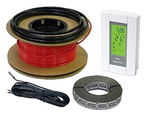 HeatTech 15 sqft Floor Warming Cable Set, Electric Radiant In-Floor Heat Heating Cable System, 120V, 60ft long Floor Warming Cable, with Aube Digital 7-day programmable Floor Sensing Thermostat