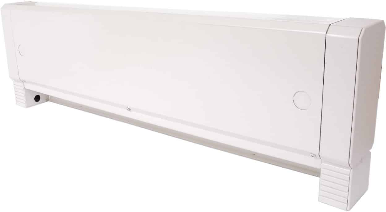 The HBB Series baseboard heater utilizes an electric/hydronic element design where a large reservoir maximizes the volume of heat storage fluid to prolong the thermal constant of the entire heater.