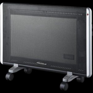 The Soleus Air HM5-15-30 provides up to 1,500 watts of silent, safe heating for your home. Wall-mountable with a sleek black and silver finish, this 20.75-inch high space heater utilizes micathermic panel technology with 5,118 BTUs of directional heat.