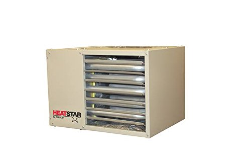 F160550 - HSU50NG Heatstar Natural Gas Unit Heater 50000 BTU - This type of garage heater uses 50K BTU per hour and it uses natural gas. It heats an area of up to 750 sq. ft. It has a spark ignition that has a self-control module.