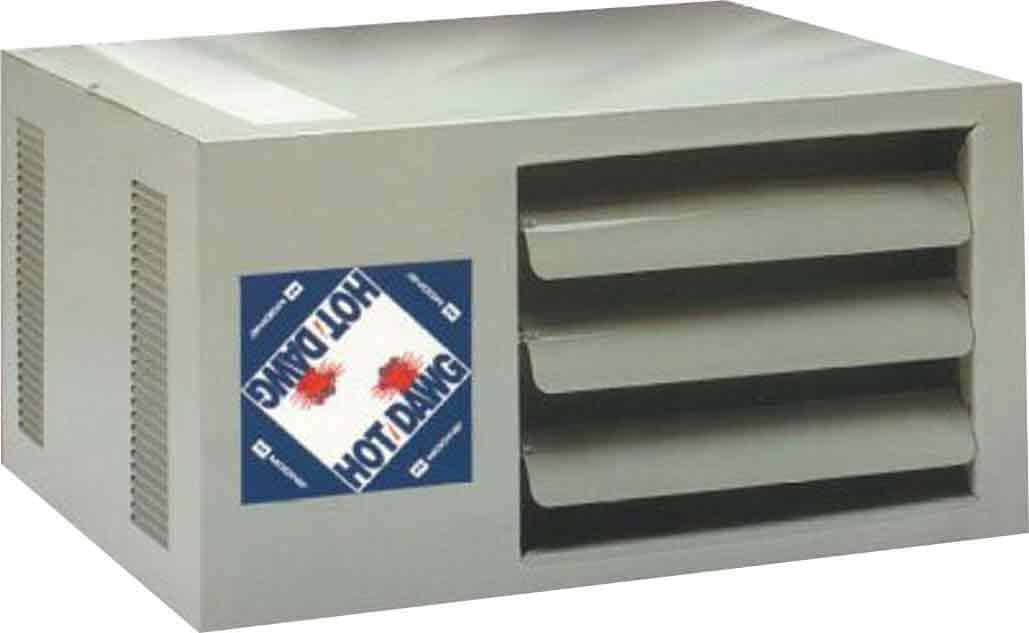 Modine HD45AS0111 45,000 BTU Hot Dawg Natural Gas Garage Heater. Besides its ability to heat a large area very quickly, the Modine heater gives you the choice of a natural gas or electrically powered heater. It can be installed as an electric heater or can be attached to a natural gas or propane tank.